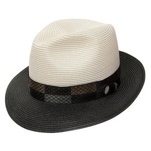 Stetson Andover Ivory & Black Straw Hat