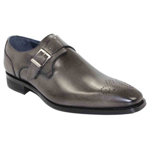 Duca Siena Grey Leather Monk Straps for Men