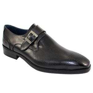 Duca Siena Black Leather Monk straps for Men