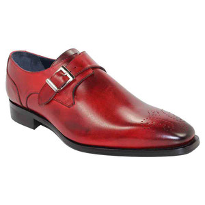 Duca Siena Red Leather Monk Straps for Men