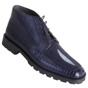 Los Altos Navy Genuine Stingray & Lizard Skin Demi Boots
