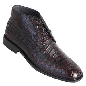 Los Altos Burgundy Genuine Caiman Skin Lace-ups