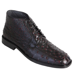 Los Altos Burgundy Genuine Ostrich Skin Ankle Boots
