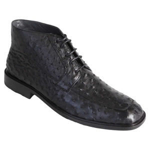 Los Altos Black Genuine Ostrich Skin Ankle Boots