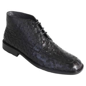 Los Altos Black Genuine Ostrich Skin Ankle Boots
