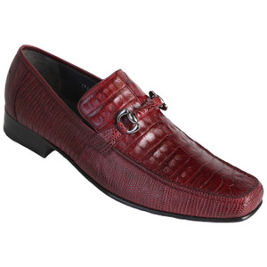 Burgundy Genuine Caiman Belly & Lizard Slip On By Los Altos