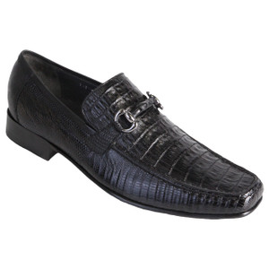 Los Altos Black Genuine Caiman & Lizard Skin Loafer