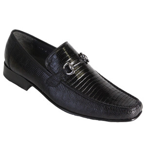 Los Altos Black Genuine Teju Lizard Skin Slip-ons