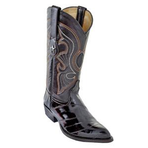 Los Altos Brown J-Toe Genuine Eel skin Boot