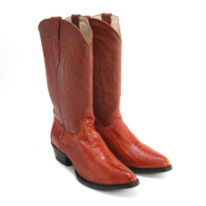 Los Altos Cognac Medium R-Toe Ostrich Boot