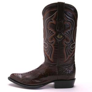 Los Altos Brown Medium Round Toe Ostrich Boot
