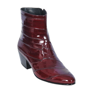 Los Altos Burgundy Genuine Eel Skin Zipper Boot