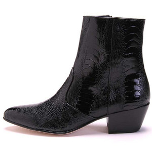 Los Altos Black Genuine Ostrich Paw Dress Boot