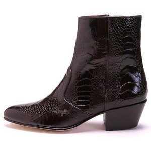 Los Altos Brown Genuine Ostrich Paw Dress Boot