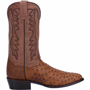 Dan Post Tempe Saddle Tan Ostrich Quill Boots