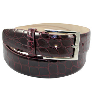 Fennix Burgundy Genuine Alligator Dress Belt