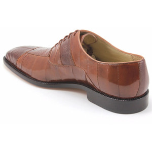 Belvedere Mare Camel Genuine Ostrich & Eel Men's Oxford