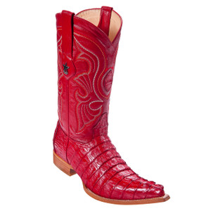 Los Altos Red Genuine Caiman Tail Boots