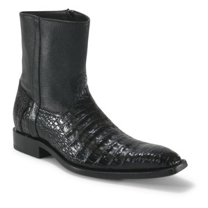 Los Altos Black Genuine Caiman Ankle Boots
