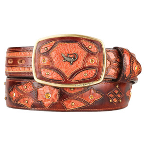 King Exotic Genuine Caiman Leather Cognac Belt