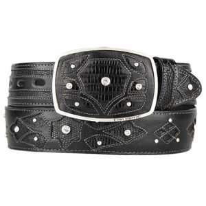 King Exotic Black Genuine Teju Lizard Skin Belt