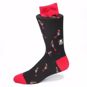 Tallia Black & Red Printed Socks