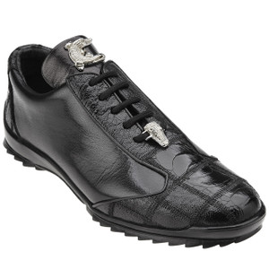 Belvedere Paulo Black Ostrich & Calfskin Leather Men's Sneakers