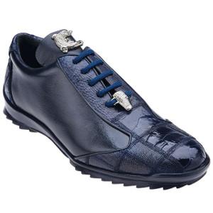 Belvedere Paulo Night Blue Ostrich & Calfskin Men's Sneakers