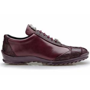 Belvedere Paulo Burgundy Ostrich & Calfskin Sneakers