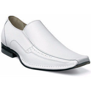Stacy Adams Templin White Real Leather Slip-Ons