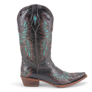 Pecos Bill Black & Turquoise Leather Western Boot