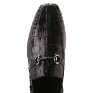 Black Genuine Caiman Crocodile Belly Slip On By Los Altos