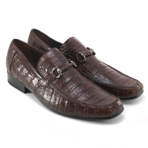 Brown Genuine Caiman Crocodile Belly Slip On By Los Altos