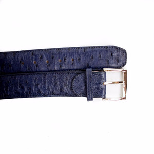 Belvedere Navy Genuine Full Quill Ostrich Dress Belt
