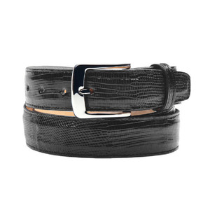 Belvedere Black Genuine Lizard Skin Dress Belt
