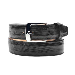 Belvedere Black Genuine Lizard Skin Dress Belt