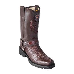 Los Altos Brown Genuine Crocodile Biker Boot