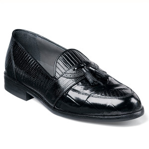 Black Genuine Snakeskin Loafers By Stacy Adams