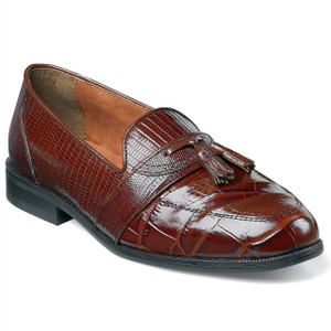 Stacy Adams Brown Santana Genuine Snakeskin Loafers