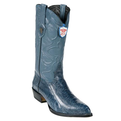 0c1e829ce4a Wild West Blue Jean Ostrich Paw J-toe Boots
