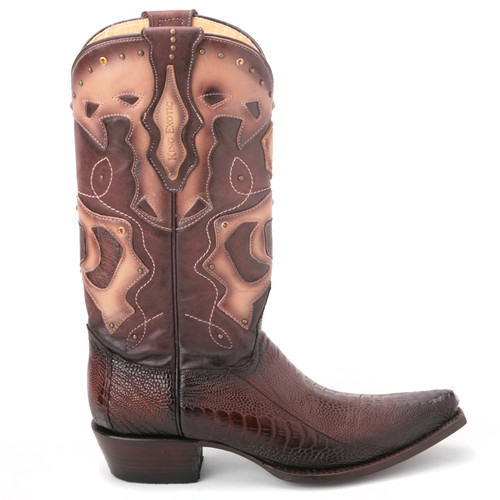 Brown Burnished Ostrich & Leather Boots By King Exotic