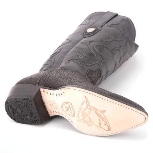 Wild West Black Genuine Shark Skin Western Boots