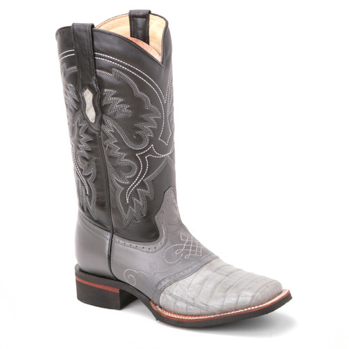 There won't be anything like these dual-toned black and gray caiman skin boots in your wardrobe. King Exotic presents this smart pair, handcrafted to perfection