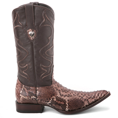 Wild West Black & Rustic Brown Python Boots