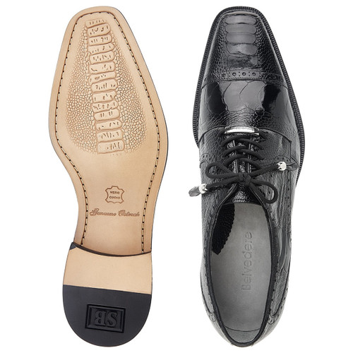 Belvedere Batta Black Genuine Ostrich Cap-toe Lace-ups