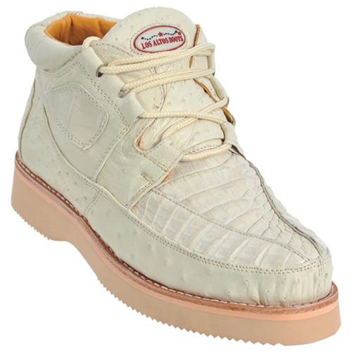 Los Altos Winterwhite Caiman & Ostrich Skin Casual Sneakers