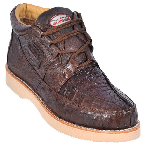 Los Altos Brown Genuine Caiman & Ostrich Skin Casual Sneakers
