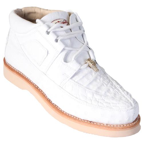 7f578e91528 Los Altos White Caiman & Ostrich Skin Casual Sneakers