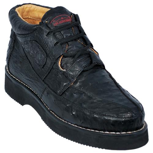Los Altos Black Full Ostrich Skin Casual Sneakers