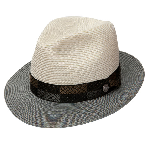5fad48fedcc Stetson Andover Ivory   Gray Florentine Milan Straw Hat
